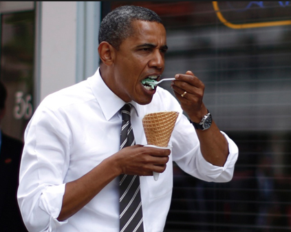 Who Eats An Ice Cream Cone With a Spoon? Barack Hussein Obama