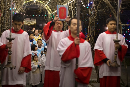 Celebrating Mass at the South Cathedral in Beijing China, Dec. 24, 2014